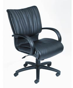 Boss Executive Mid-Back LeatherPlus Black Bonded-Leather Chair