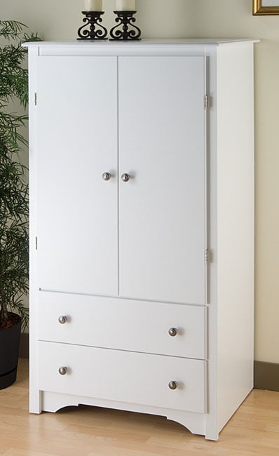 White 2 Drawers Bedroom Furniture Armoire Closet Wardrobe