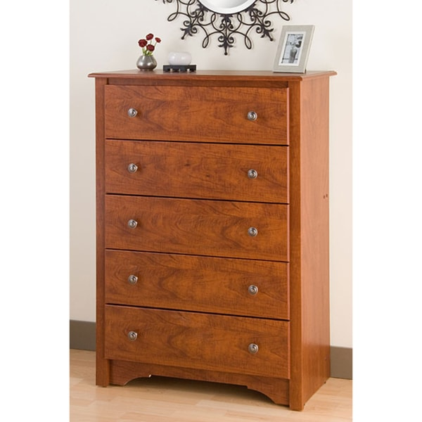 Chelsea cherry 5 drawer chest wood dresser bedroom for Bedroom 5 drawer chest