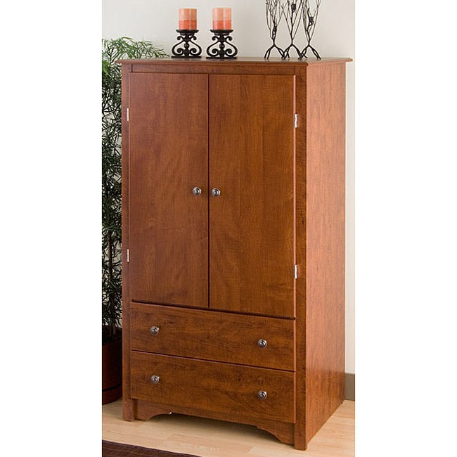 cherry 2 drawers bedroom furniture armoire closet wardrobe entertainment cabinet ebay. Black Bedroom Furniture Sets. Home Design Ideas