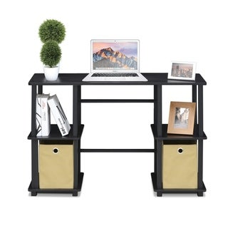 Porch & Den Longfellow Espresso/Black Computer Desk with Storage Bins