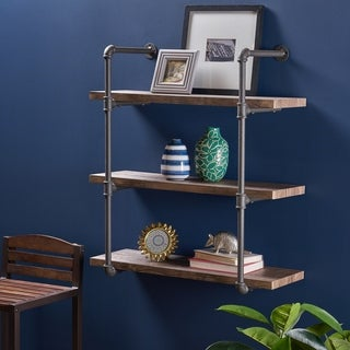 "Staci Industrial 3 Shelf Faux Wood Floating Shelf by Christopher Knight Home - 31.25"" W x 12.00"" D x 34.75"" H"