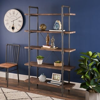 "Kodiak Industrial 5 Shelf Faux Wood Bookcase by Christopher Knight Home - 41.25"" W x 15.25"" D x 70.00"" H"
