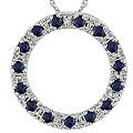 10k White Gold Diamond Sapphire Pendant