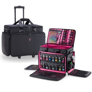KIOTA Cosmetic Makeup Trolley Wheels Case w/ removable Storage Pouch