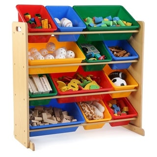Tot Tutors Kids Wood Toy Storage Organizer with 12 Plastic Bins, Natural Frame & Primary Bins