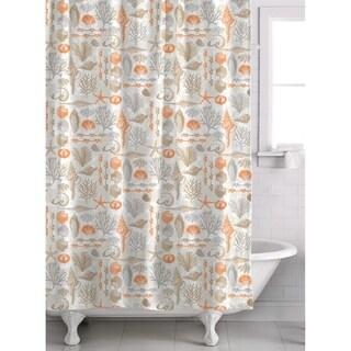 Reef Point 13 Piece Fabric Shower Curtain Roller Ball Hook Set