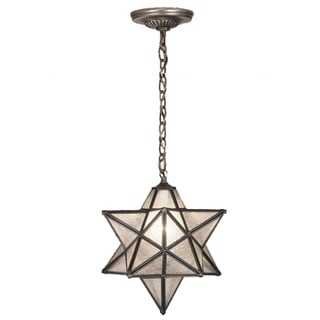 12 Inch Wide moravian star clear seeded Pendant