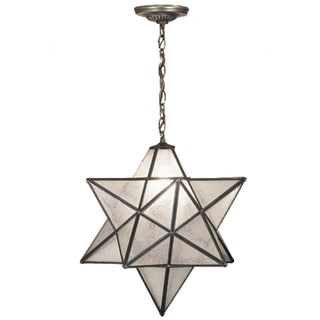 18 Inch Wide moravian star clear seeded Pendant