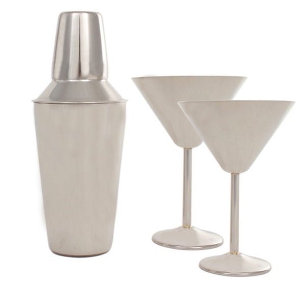 Stainless Steel Martini Set - 2 Martini Glasses and Shaker Set