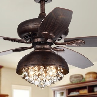 Fredix 5-Blade 52-Inch Speckled Bronze Ceiling Fan with Hooded Crystal Chandelier (Remote Controlled & 2 Color Option Blades)