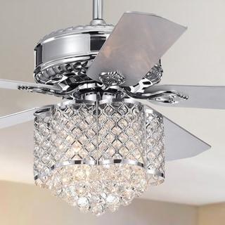 Deidor 5-blade 3-Light 52-inch Chrome Lighted Ceiling Fan w Crystal Chandelier 2 Color Blades (Optional Remote Control)