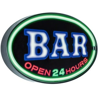 American Art Decor Bar Open 24 Hours Oval Shaped LED Light Up Sign Wall Decor for Man Cave Bar Garage