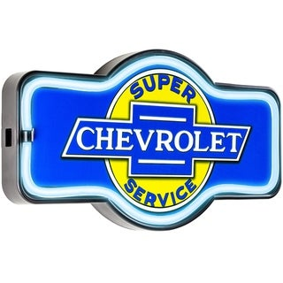 American Art Decor Vintage Chevrolet Marquee Shaped LED Light Up Sign Wall Decor for Man Cave Bar Garage