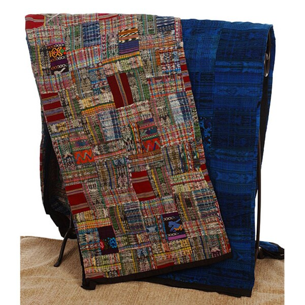 Handmade Blue or Rose Guatemalan Patchwork Quilt (Guatemala)