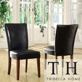 Tribecca Home Kensington Bicast Leather Parson Side Chairs (Set of 2)