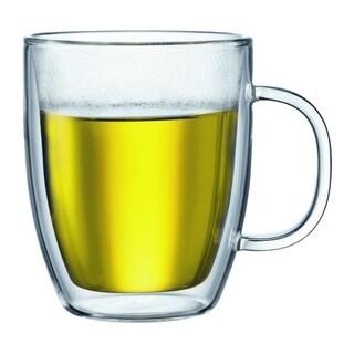 Bodum Bistro Double Wall Glass Mugs, 0.45L, 15oz, (2 Glass Mugs)