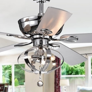 Tatiana 52-inch Ceiling Fan with 3-Light Royal Chandelier Optional Remote Control (incl 2 blade color options)