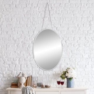 17x24 Frameless Beveled Oval Mirror With Hanging Chain - Silver