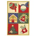 Hand-hooked Holiday Cheer White/ Multi Wool Runner (2'6 x 4')