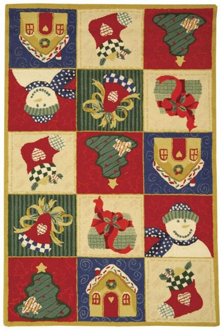 Safavieh Hand-hooked Holiday Cheer White/ Multi Wool Rug (3'9 x 5'9)