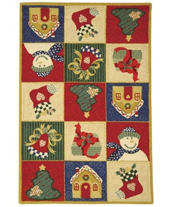 Hand-hooked Holiday Cheer White/ Multi Wool Rug (3'9 x 5'9)