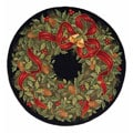 Handmade Holiday Wreath Wool Rug (5' Round)