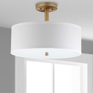 "Safavieh Lighting Clara 3-light Gold Ceiling Drum Light - 16""x16""x11.25"""