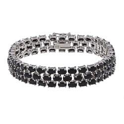 Glitzy Rocks Sterling Silver 32.3 CTW Genuine Sapphire 3-tier Bracelet