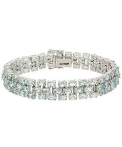 Glitzy Rocks Sterling Silver 28.5 CTW Blue Topaz Three-tier Bracelet
