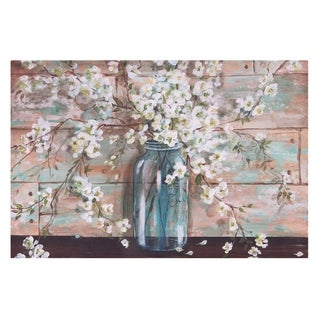Blooms In Mason Jar Floral Canvas Art - Blue