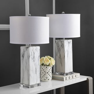 "Safavieh Lighting 29-inch Olympia Marble Table Lamp (Set of 2) - 15""x15""x29"""