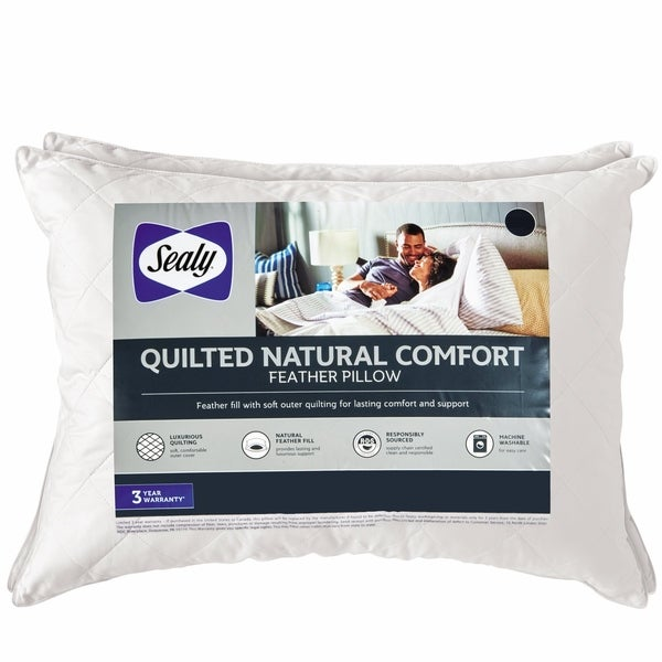 Sealy Quilted Natural Comfort Feather Pillow, 2 Pack - White 37052527