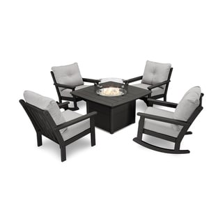 POLYWOOD® Vineyard 5-Piece Deep Seating Rocking Chair Conversation Set with Fire Pit Table
