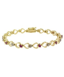 Glitzy Rocks 18k Gold over Sterling Silver Ruby Heart Bracelet