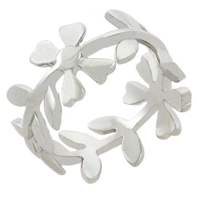 Mondevio Sterling Silver Floral Designed Ring
