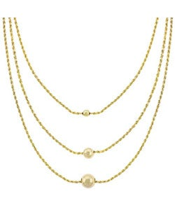 Mondevio 18k Gold over Sterling Silver 3-strand Necklace