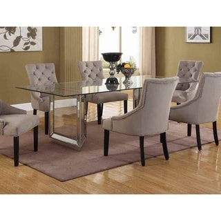 Best Master Furniture Mirrored Wood Dining Table with Tempered Glass Top