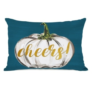 Cheers White Pumpkin - Teal 14x20 Pillow by Timree