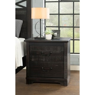 Coastal Farmhouse Solid Wood 2 Drawer Nightstand, Antique Black