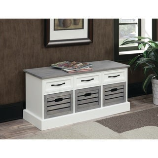 "Traditional White and Grey Cabinet - 39.25"" x 13.75"" x 17.75"""
