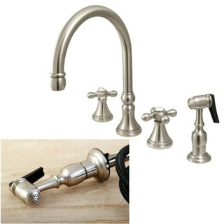 Satin Nickel 4-hole Cross Handles Kitchen Faucet and Sprayer