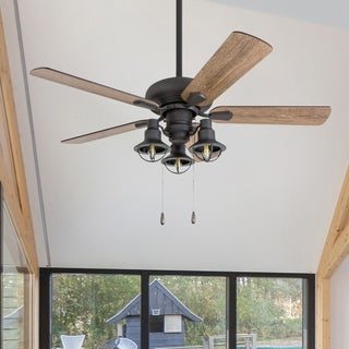 "Prominence Home Piercy 42"" Aged Bronze LED Ceiling Fan with Lantern Lights"
