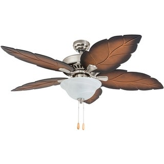 "Prominence Home Bradenton Tropical 52"" Brushed Nickel LED Ceiling Fan, Bowl Light, Mocha Blades"