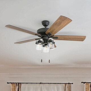 "Prominence Home Briarcrest Farmhouse 52"" Aged Bronze LED Ceiling Fan with Light, 3 Speed Remote"