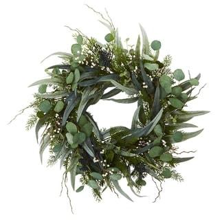 "24"" Eucalyptus and Mixed Greens Artificial Wreath"