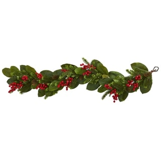 5' Magnolia Berry Pine Artificial Garland