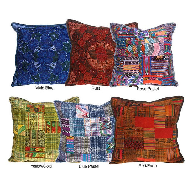 Embroidered Patchwork Cotton Pillow Cover (Guatemala)
