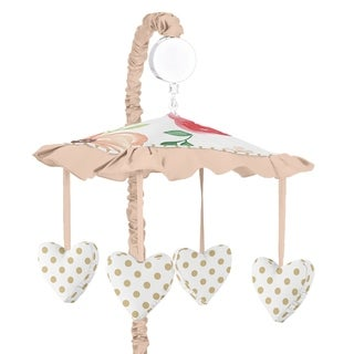 Sweet Jojo Designs Peach, Green, and Gold Watercolor Floral Collection Musical Crib Mobile