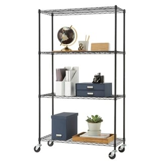 "TRINITY 4-Tier Wire Shelving Rack 36"" x 14"" x 62.5"" Includes Wheels NSF Black"